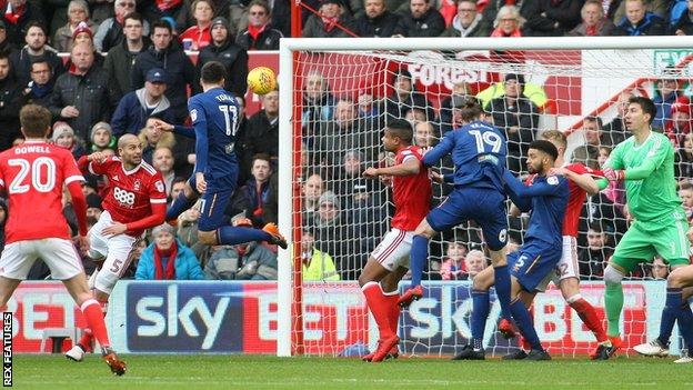 Jon Toral leaps to head Hull City in front against Nottingham Forest