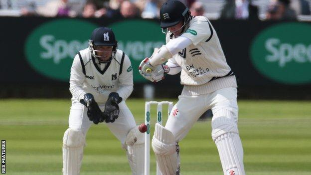 Sam Robson has so far hit 24 fours in his six hours and 23 minutes at the crease