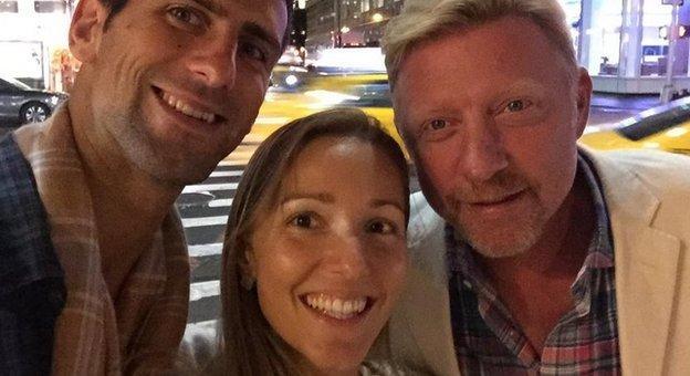 Novak Djokovic, wife Jelena and coach Boris Becker enjoy a big night in the Big Apple