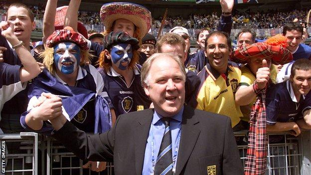 Scotland manager Craig Brown with fans at the World Cup in 1998