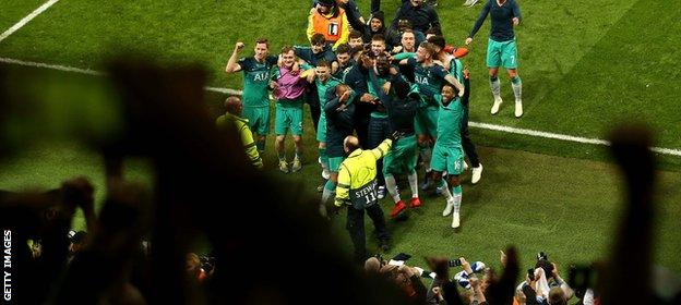 Tottenham celebrate in front of their fans