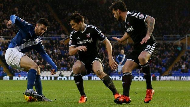 Blues midfielder Jon Toral went closer than anyone to breaking the first-half deadlock at St Andrew's