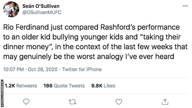 "Twitter user talks about Rio Fedinand comparing Rashford's performance to ""taking dinner money"""