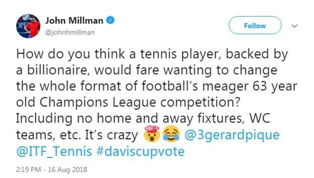 John Millman tweets his opposition to the Davis Cup reforms