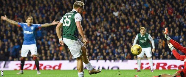 Jason Cummings scores for Hibernian against Rangers