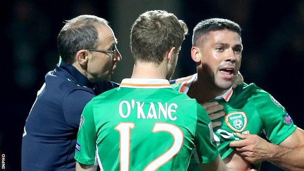 Martin O'Neill tries to calm Jonathan Walters are some vigorous Moldovan challenges late in the game