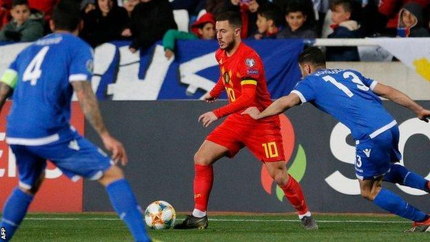 UEFA EC 2020 Qualifying Report: Chelsea's Hazard scores on 100th Belgium appearance