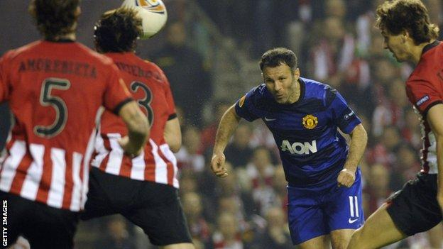 Ryan Giggs heads the ball at Bilbao in March, 2012