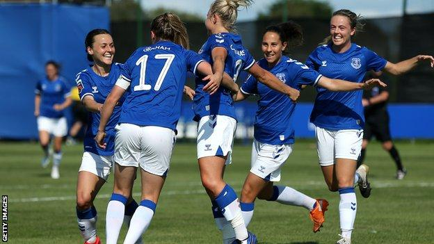 Everton celebrate Izzy Christiansen's goal