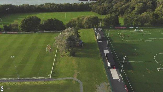 aerial shot of the two grounds in Bangor