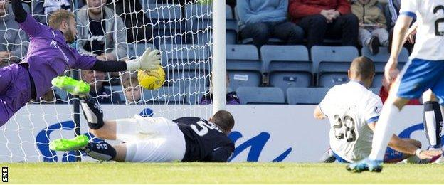 Josh Magennis scores for Kilmarnock against Dundee