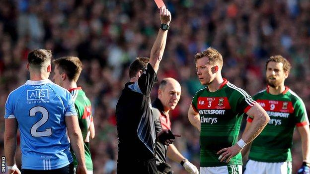 Donal Vaughan got a straight red card as both teams were reduced to 14 men