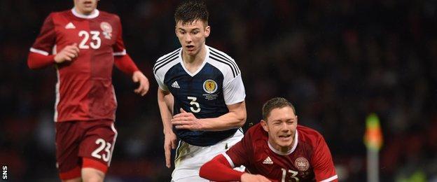 Kieran Tierney holds off Denmark's Henrik Dalsgaard