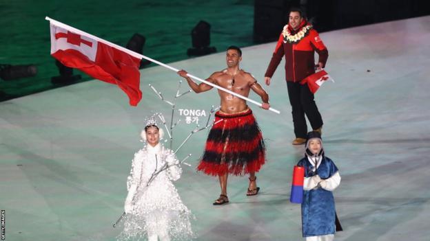 Tonga's flagbearer Pita Taufatofua