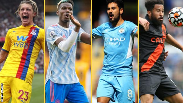 Conor Gallagher (left), Paul Pogba (second left), Ilkay Gundogan and Andros Townsend (right)