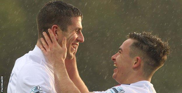 Mark Haughey and Jordan Stewart scored in Linfield's big win at Ballinamallard