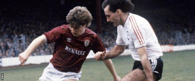Hearts' John Robertson (left) and Aberdeen's Willie Miller