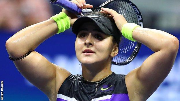 Bianca Andreescu celebrates beating Belinda Bencici to reach the US Open final
