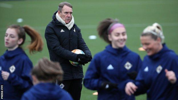 Kenny Shiels takes a training session ahead of Friday's game