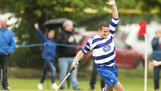 Newtonmore's Glen MacKintosh celebrates his winning goal