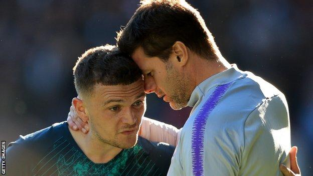 Tottenham defender Kieran Trippier (left) and Spurs manager Mauricio Pochettino