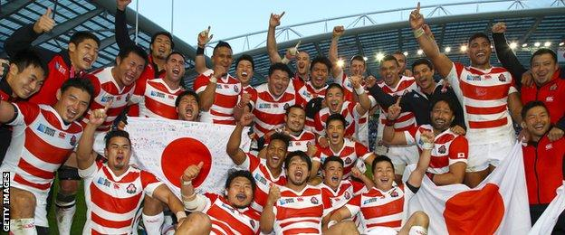 Jones's Japan side caused the greatest upset in World Cup history by beating South Africa in September