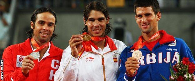 Fernando Gonzalez, Rafael Nadal and Novak Djokovic on the podium at Beijing 2008