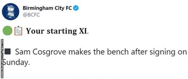 Birmingham City'nin Twitter akışı, bir kumar sponsoruna bağlantılar içeriyor