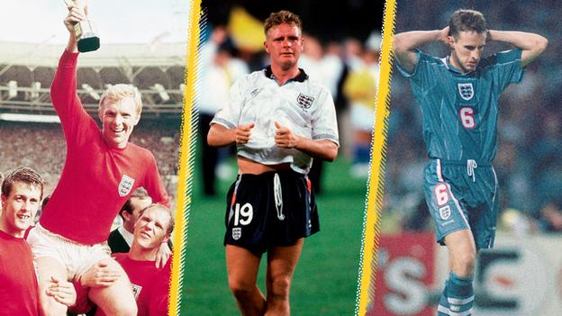 A graphic showing Bobby Moore, Paul Gascoigne and Gareth Southgate