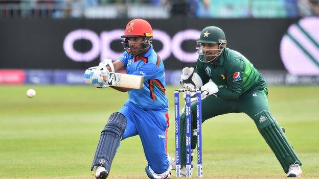 Hashmatullah Shahidi batting for Afghanistan against Pakistan at Bristol
