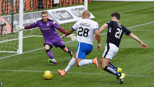Josh Magennis has a shot for Kilmarnock against Dundee