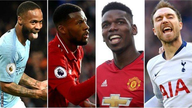 Georginio Wijnaldum (Liverpool), Paul Pogba (Man Utd), Christian Eriksen (Tottenham), Raheem Sterling (Man City)