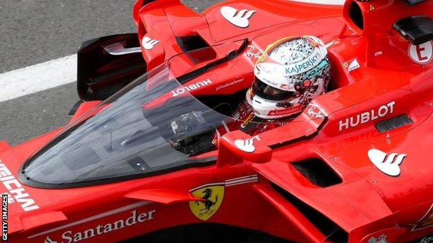 Sebastian Vettel testing the shield