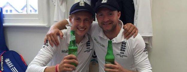 Joe Root celebrates with Adam Lyth