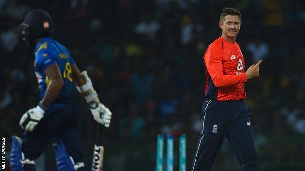 England's Joe Denly celebrates after bowling Sri Lanka opener Niroshan Dickwella
