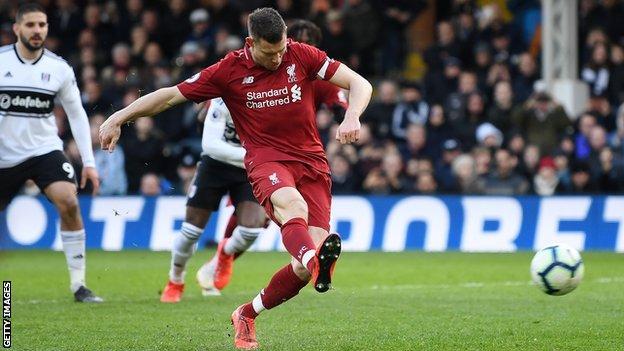 James Milner scores a penalty