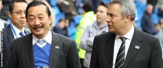 Cardiff City owner Vincent Tan and club chairman Mehmet Dalman