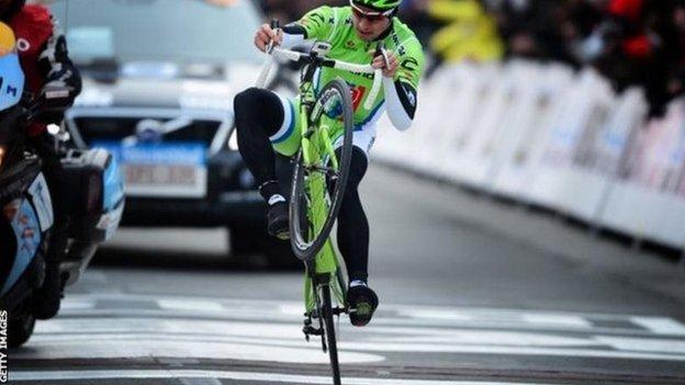 Peter Sagan winning the 2013 Gent-Wevelgem one-day race