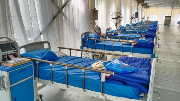 Beds in Onikan Stadium