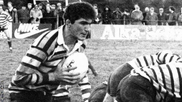 Owain Williams in action for Glamorgan Wanderers at Llandovery in 1986