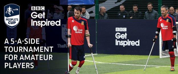 Disability football match in play