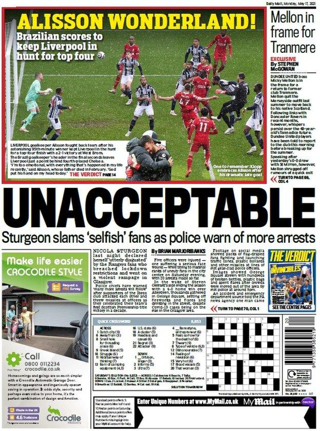 The back page of the Scottish Daily Mail on 170521