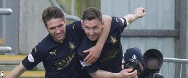 Falkirk's Bob McHugh (right) celebrates as he puts his side back in front