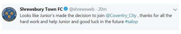 Shrewsbury Town tweet on Junior Brown