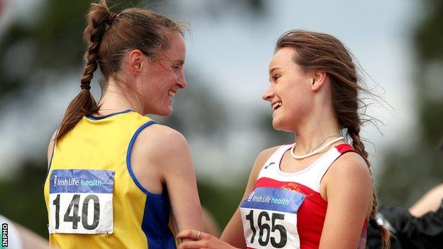 Ciara Mageean with Ennis athlete Jo Keane after winning the women's 1500m at Santry