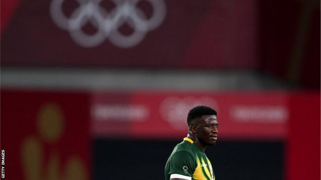 A dejected Sakoyisa Makata after losing in the quarter-finals of Olympic rugby sevens to Argentina at Tokyo 2020