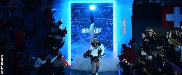 Rafael Nadal enters the O2 Arena