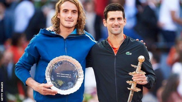 Novak Djokovic (right) and Stefanos Tsitsipas
