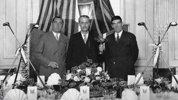 Founder of the Ryder Cup Samuel Ryder with American team captain Walter Hagen and British team captain George Duncan