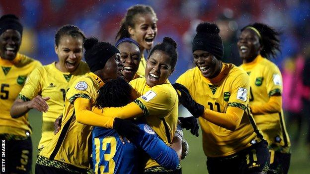 Jamaica women's football team celebrate